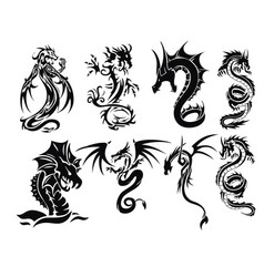 dragon tattoo set vector image