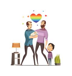 gay loving family retro cartoon vector image vector image