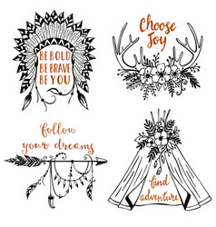 hand drawn boho style design elements with vector image