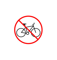 no bicycle line icon bike prohibition sign vector image vector image