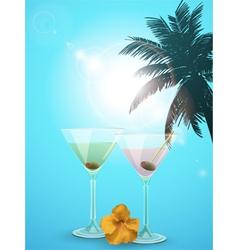 summer cocktail blue background portrait vector image
