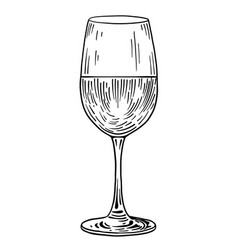 Wine glass drawing engraving ink vector