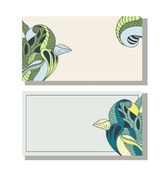 Floral hand drawing business cards set vector image vector image