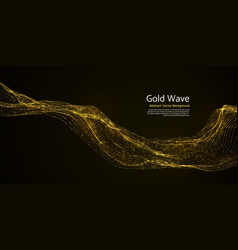 gold striped abstract wave on dark background vector image