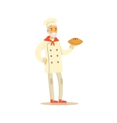 Old Man Professional Cooking Chef Working In vector image vector image