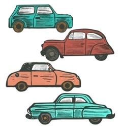 set of cute hand-drawn retro cars vector image vector image