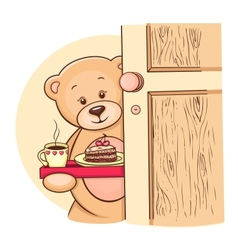 Teddy Bear with breakfast vector image