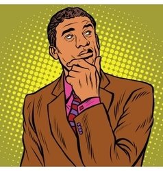 thinker pose black businessman vector image