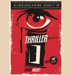 thriller movies marathon retro poster design idea vector image
