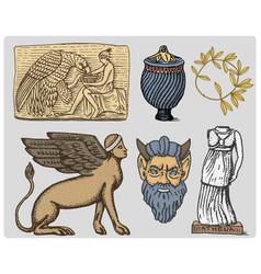 ancient greece antique symbols ganymede and eagle vector image