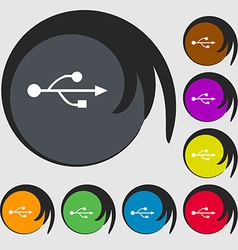 USB icon sign Symbol on eight colored buttons vector image