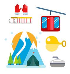 winter sport icons set ski gondola vector image