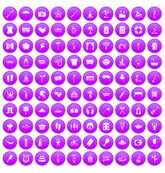 100 recreation icons set purple vector