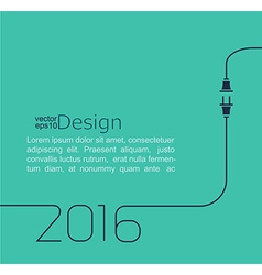 2016 - new year abstract line with wire plug and vector image