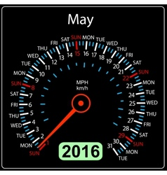 2016 year calendar speedometer car May vector image