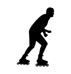 A man rides on roller skates in the summer flat vector image