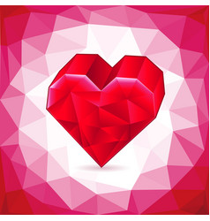 Abstract three-dimensional red heart triangles vector
