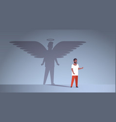 African american guy with shadow angel vector
