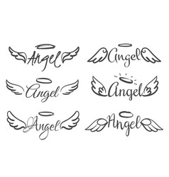 Angels wings emblems feather angel wing and halo vector