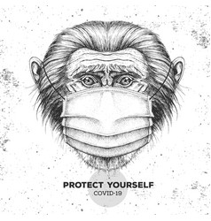 Animal monkey wearing face medical mask covid-19 vector