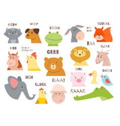 Animals talking farm and wild fauna characters vector