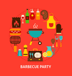 barbecue party postcard vector image