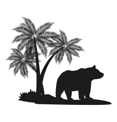 Bear black silhouette vector
