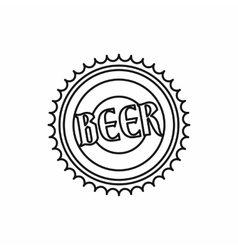 Beer bottle cap icon outline style vector image