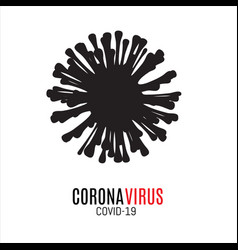 Black silhouette coronavirus icon on vector