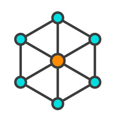 Blockchain node line icon minimal pictogram vector