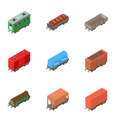 Boxcar icons set isometric style vector