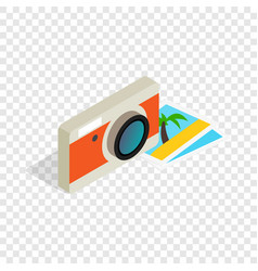 Camera and photos isometric icon vector