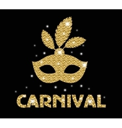 Carnival golden glitter mask poster flyer vector