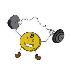 Cartoon bitcoin weight-lifting a chart vector