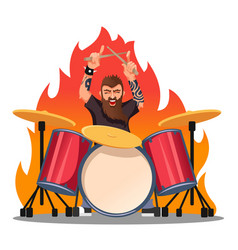 Cartoon color character person rocker playing vector