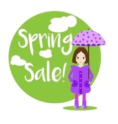 Cartoon girl character Sale banner vector