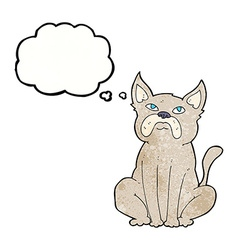 cartoon grumpy little dog with thought bubble vector image