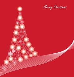 christmas snowflake tree red vector image