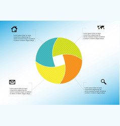 circle divided to four parts filled color vector image