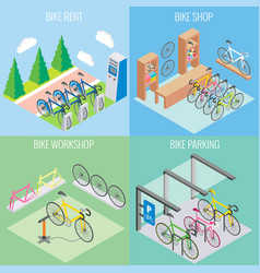City bike concept in isometric style vector