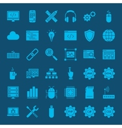 Coding Glyphs Website Icons vector image