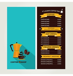 Coffee house menu restaurant template design vector image