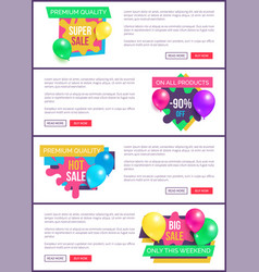 Collection landing pages sale prices promo sticker vector