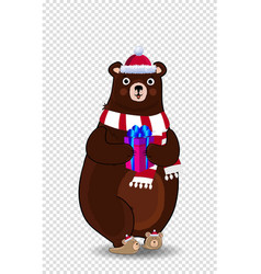 cute cartoon bear in santa hat and scarf holding vector image