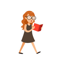 Cute nerd girl walking and reading book pupil vector
