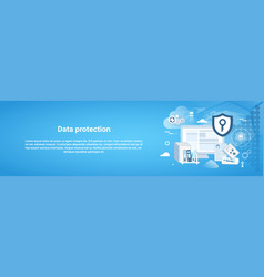 data protection horizontal web banner with copy vector image