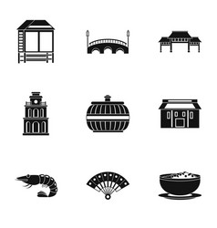 eastward icons set simple style vector image