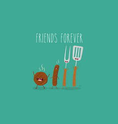 Funny sausage steak and chicken leg friend vector