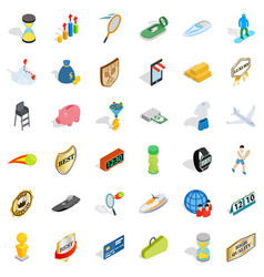Great victory icons set isometric style vector