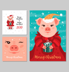 greeting cards merry christmas and new year 2019 vector image